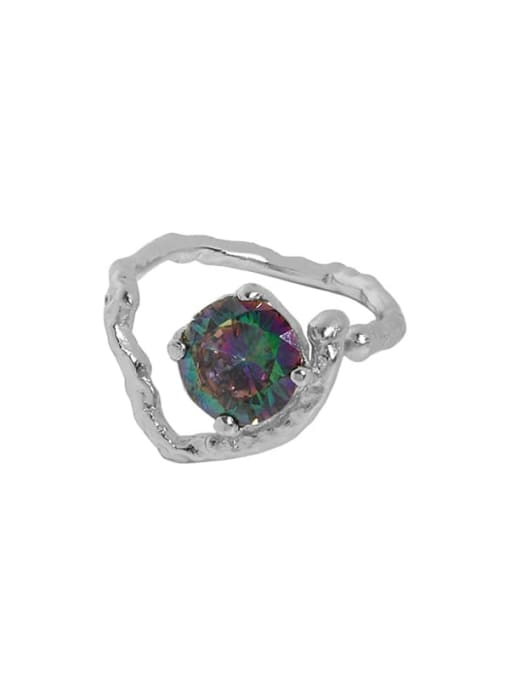 White gold [No. 12 Adjustable] 925 Sterling Silver Glass Stone Heart Vintage Band Ring